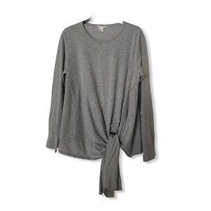 Caslon Long Sleeve Side Tie T-Shirt Heather Gray
